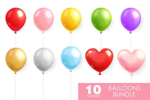 Kolorowe Balony Ustawione Realistyczne, Balon Helowy Premium Wektorów