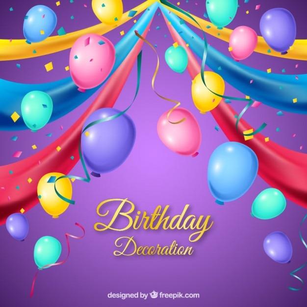 Kolorowe Balony Z Dekoracji Urodziny Wektor Darmowe Pobieranie