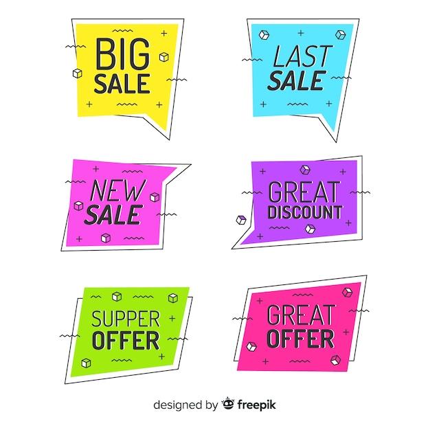 Kolorowe banery sprzedaż memphis Darmowych Wektorów
