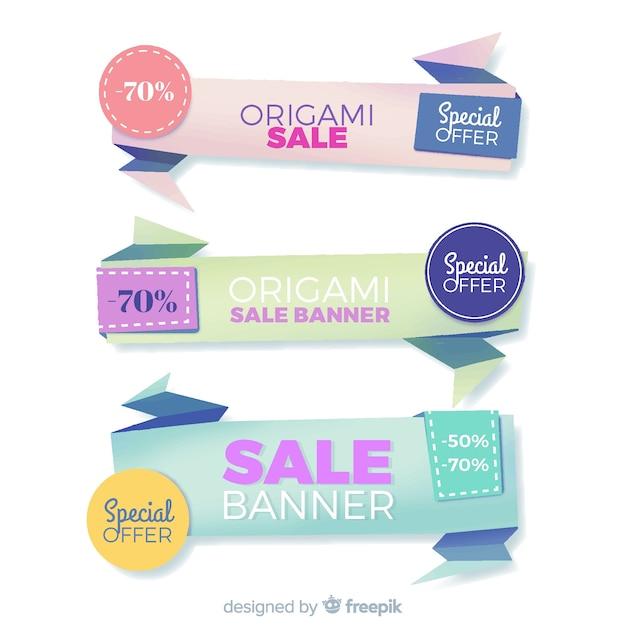 Kolorowe Banery Sprzedaży Origami Darmowych Wektorów