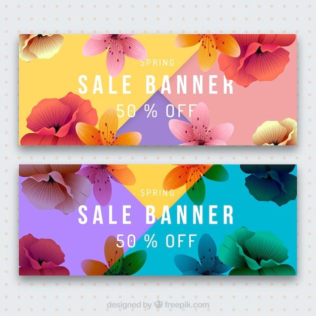 Kolorowe banery szczegółowe sprzedaży wiosną Darmowych Wektorów