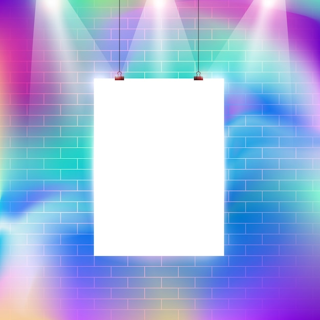 Kolorowe Cegła Wzór ściany Z Pustą Tablicę Ilustracji Wektorowych Projektu Premium Wektorów