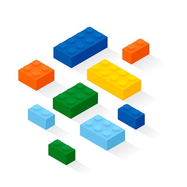 Kolorowe cegły ustawione. szczegóły zestawu konstrukcyjnego. Premium Wektorów