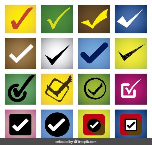 Kolorowe Check Mark Zestaw Darmowych Wektorów