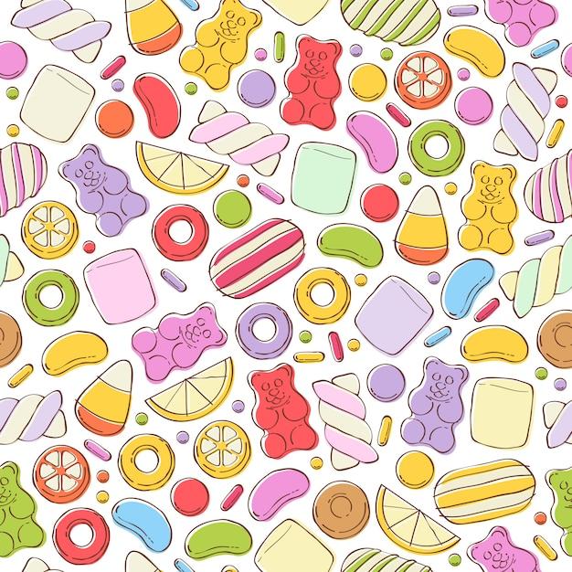Kolorowe cukierki bezszwowe tło. Premium Wektorów