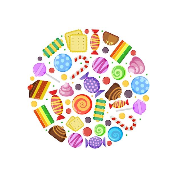 Kolorowe cukierki. ciastka czekoladowo-karmelowe ciastka owocowe i inne słodycze w kształcie koła Premium Wektorów