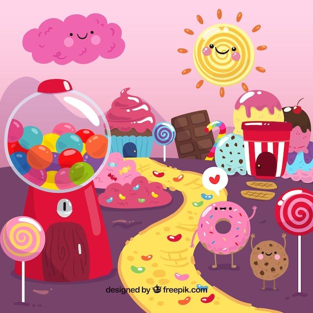 Kolorowe Cukierki Ziemi Tło Darmowych Wektorów
