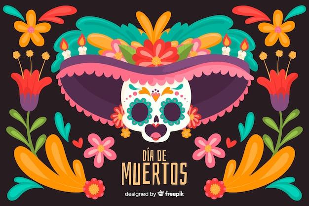 Kolorowe damy czaszki ręcznie rysowane tła día de muertos Darmowych Wektorów