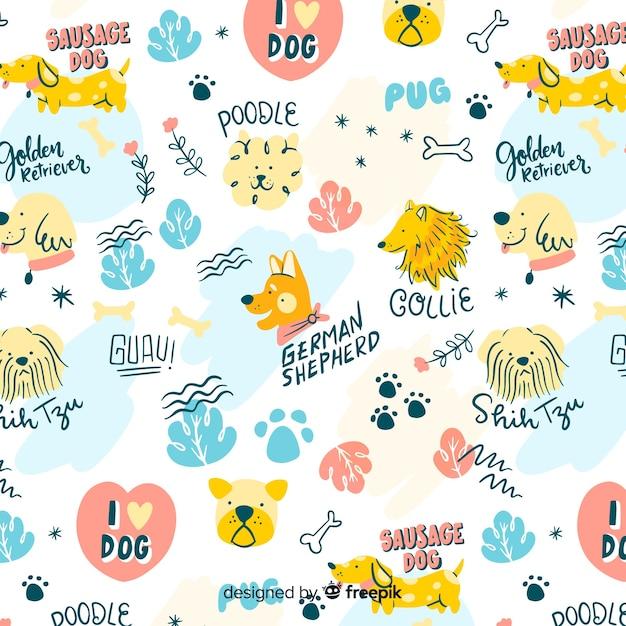 Kolorowe doodle psy i słowa wzór Darmowych Wektorów