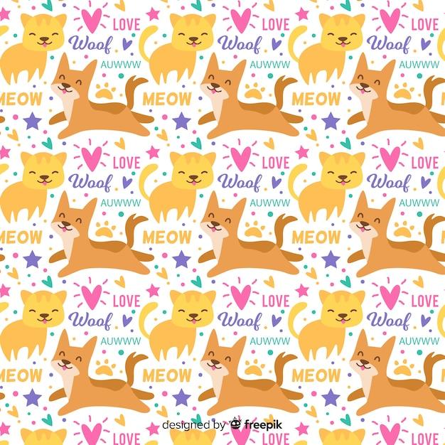 Kolorowe doodle zwierzęta domowe i wzór słowa Darmowych Wektorów