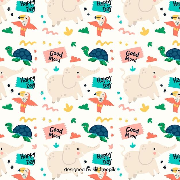 Kolorowe doodle zwierzęta i słowa wzór Darmowych Wektorów