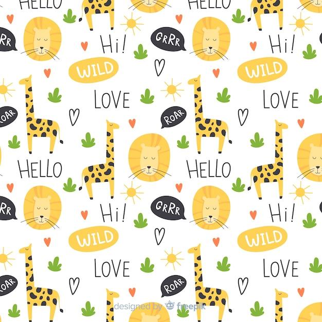 Kolorowe doodle żyrafy i wzór słowa Darmowych Wektorów