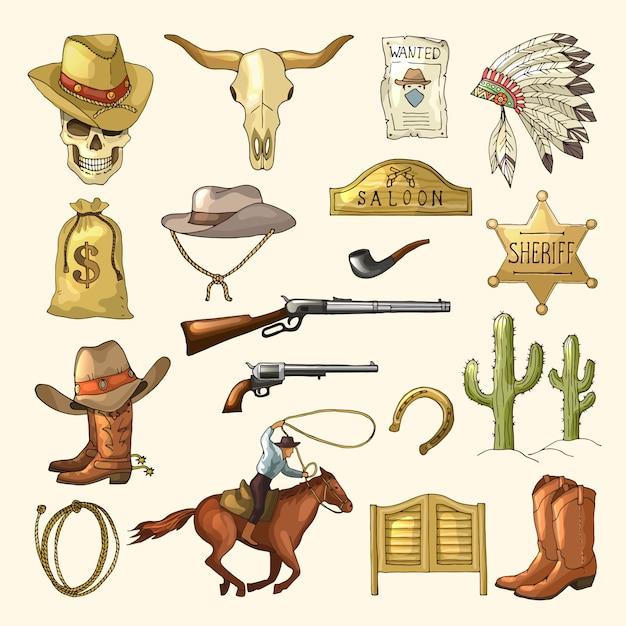 Kolorowe dzikie symbole zachodnie Premium Wektorów