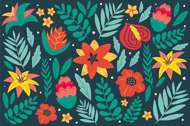 Kolorowe Egzotyczne Tło Kwiatowy Darmowych Wektorów