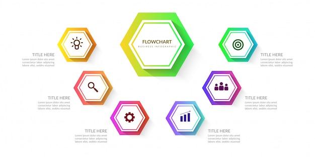 Kolorowe elementy infographic przepływu pracy, wykres procesu biznesowego z wielu kroków Premium Wektorów