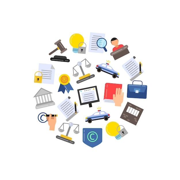Kolorowe elementy prawa autorskiego w stylu liniowym w formie okrągłej Premium Wektorów