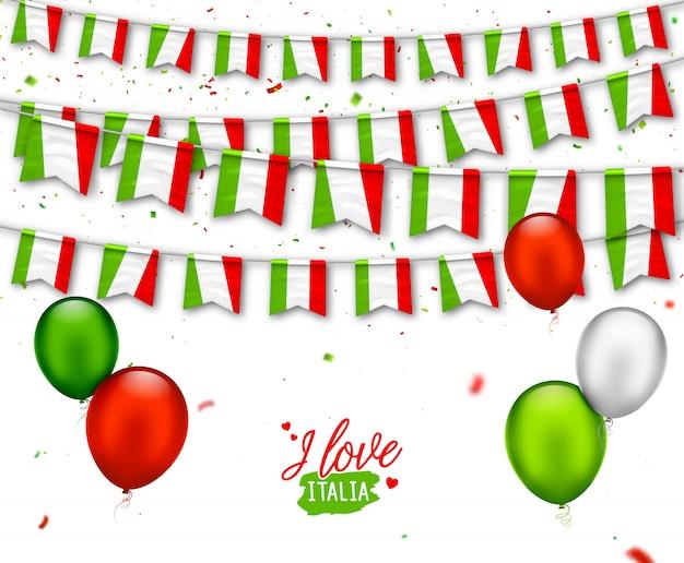 Kolorowe Flagi Włoch Z Konfetti, Balony. świąteczne Girlandy Na Przyjęcie Narodowe, Dzień Niepodległości Premium Wektorów