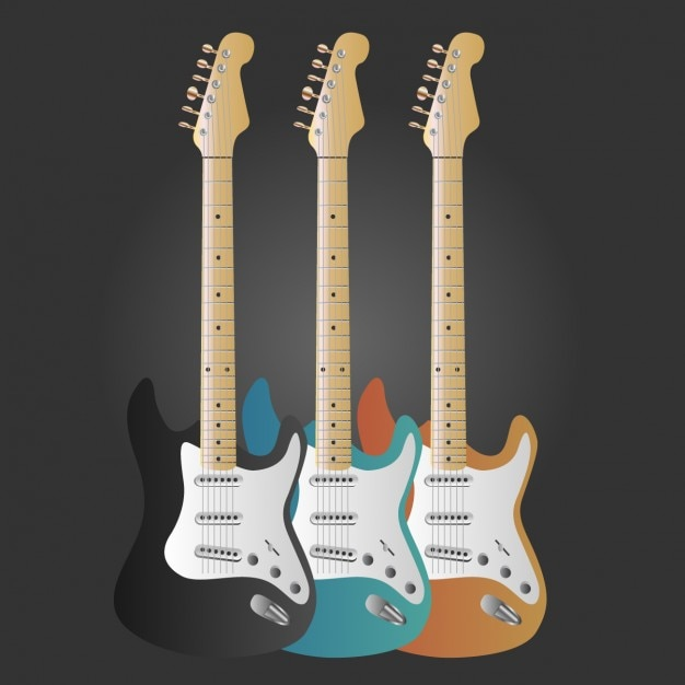 Kolorowe gitary kolekcji Darmowych Wektorów