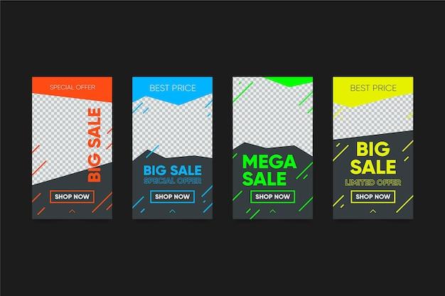 Kolorowe Historie Sprzedaży Na Instagramie Darmowych Wektorów