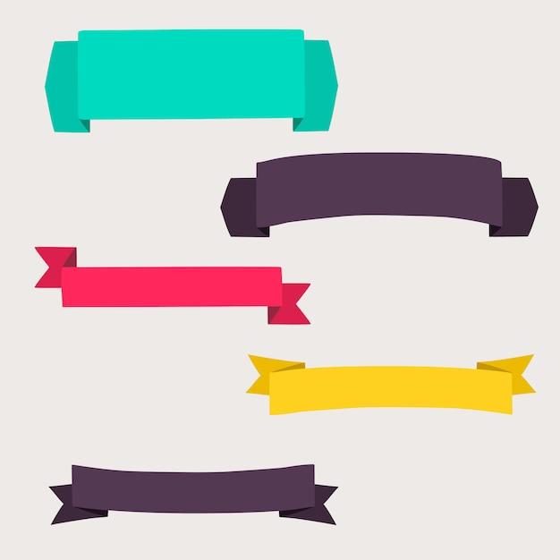 Kolorowe i zdobione banery papierowe Premium Wektorów