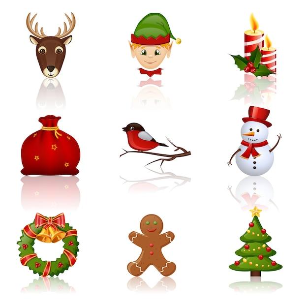 Kolorowe Ikony Boże Narodzenie I Nowy Rok. Ilustracja. Premium Wektorów