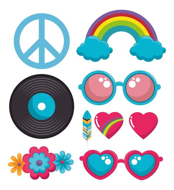 Kolorowe Ikony Hippie Premium Wektorów