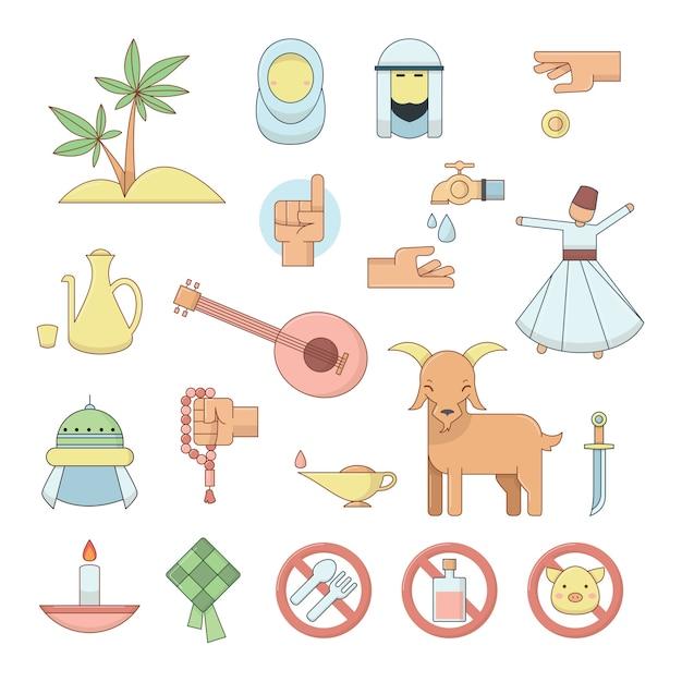 Kolorowe Ikony Kultury Muzułmańskiej Religii. Premium Wektorów
