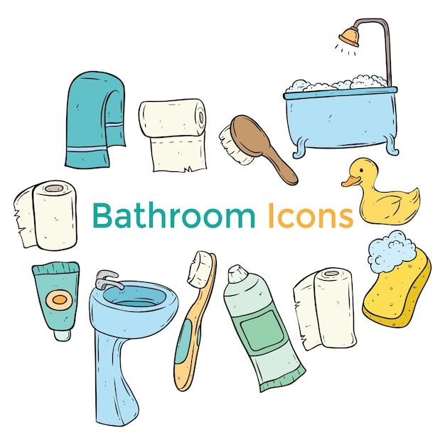 Kolorowe Ikony ładny łazienka Z Grafiką Lub Doodle Stylu Premium Wektorów
