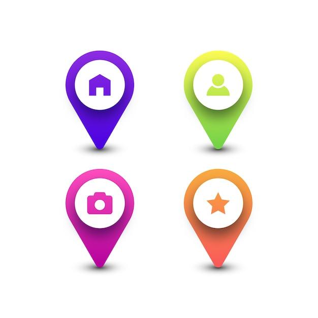 Kolorowe Ikony Pinezki Mapy Premium Wektorów