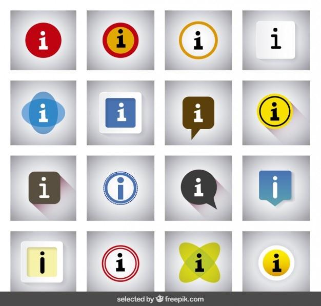 Kolorowe informacyjne przyciski Darmowych Wektorów
