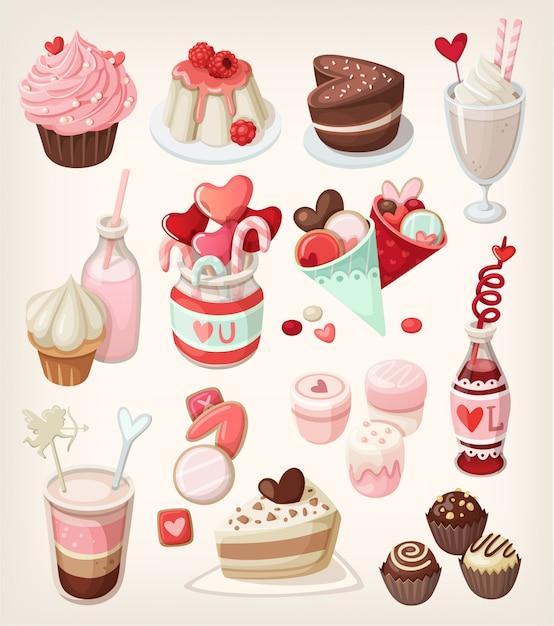 Kolorowe Jedzenie Na Okazje Związane Z Miłością: Walentynki, Romantyczna Randka, ślub Premium Wektorów