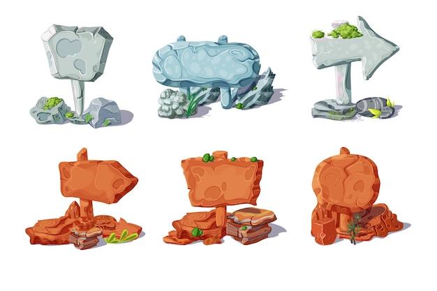 Kolorowe Kamienne Wskaźniki I Kolekcja Szyldów Z Roślinami W Stylu Cartoon Na Białym Tle Darmowych Wektorów