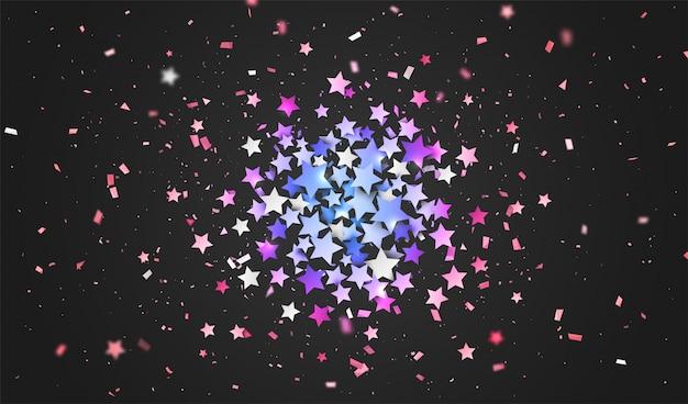 Kolorowe konfetti gwiazd. tło wakacje Premium Wektorów