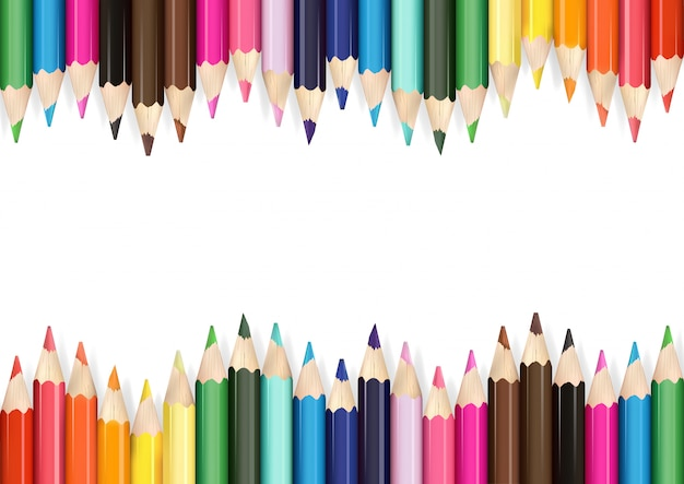 Kolorowe Kredki Tło Premium Wektorów