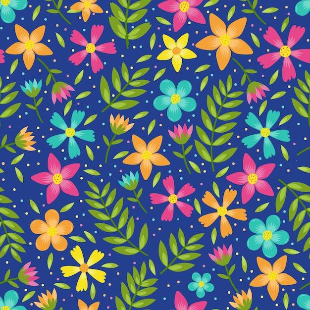 Kolorowe Kwiaty I Liście Kwiatowy Wzór Premium Wektorów