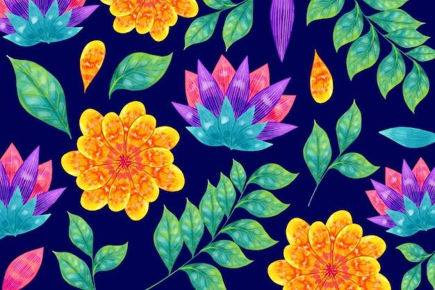Kolorowe Kwiaty I Liście Zwrotnika Darmowych Wektorów