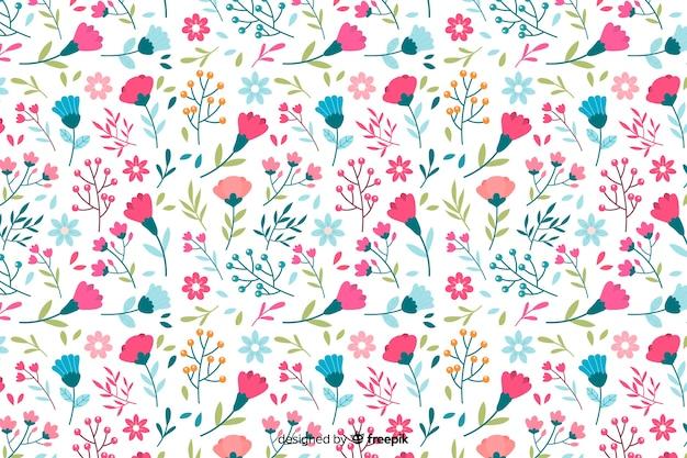 Kolorowe kwiaty ozdobne tło stylu płaski Darmowych Wektorów