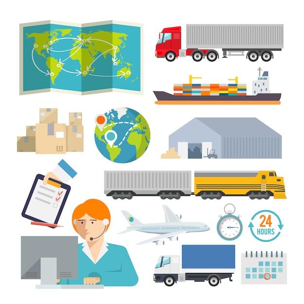 Kolorowe Logistyki Wektor Zestaw Ikon Premium Wektorów