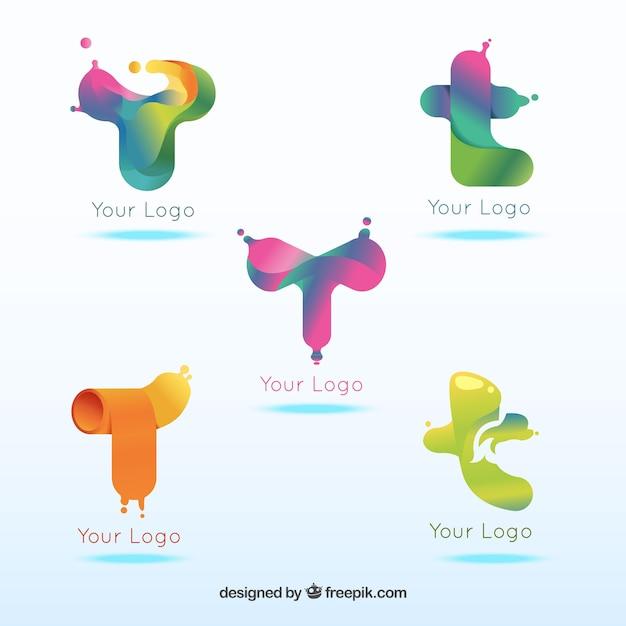Kolorowe Logo Litera T Szablonu Kolekcji Premium Wektorów