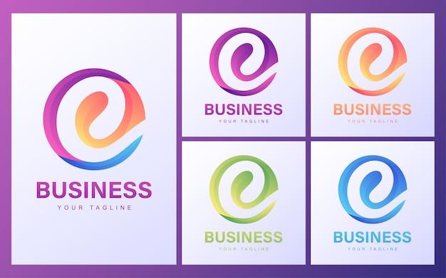 Kolorowe Logo Litery C Z Nowoczesną Koncepcją Premium Wektorów
