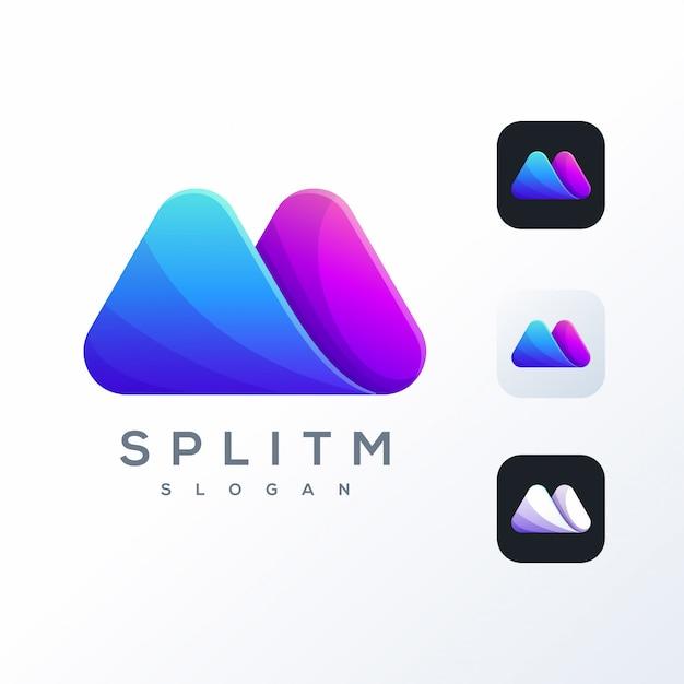 Kolorowe Logo M Gotowe Do Użycia Premium Wektorów