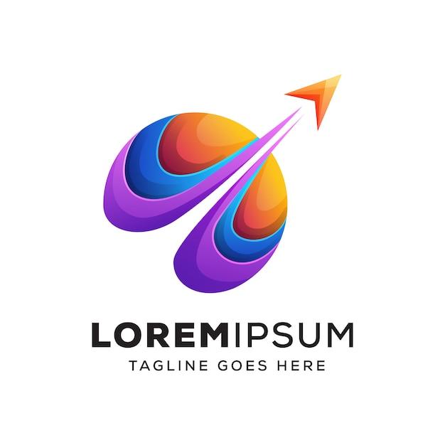 Kolorowe logo podróży Premium Wektorów
