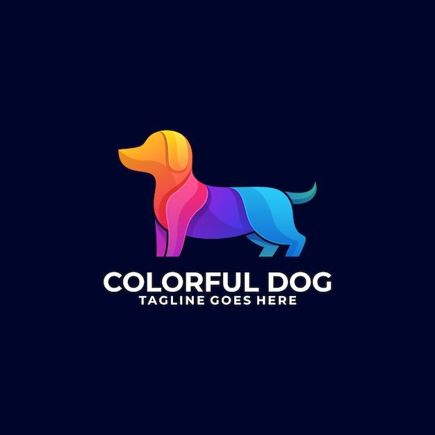 Kolorowe logo psa Premium Wektorów