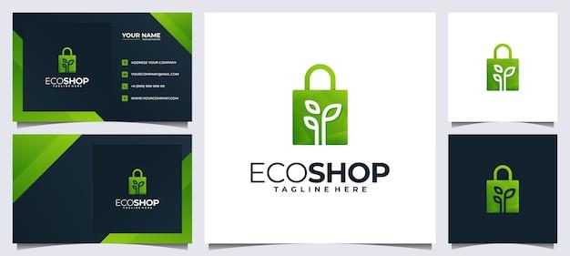Kolorowe Logo Zakupów I Wizytówki, Z Koncepcją Torby I Liści Premium Wektorów