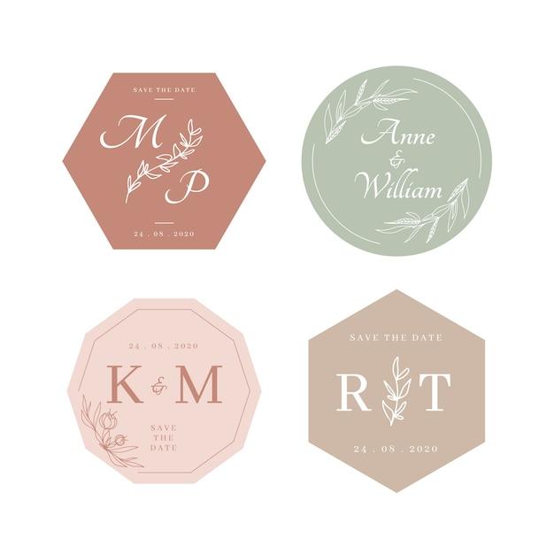 Kolorowe Monogramy ślubne Darmowych Wektorów