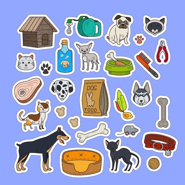 Kolorowe Naklejki Dla Kotów I Psów Premium Wektorów