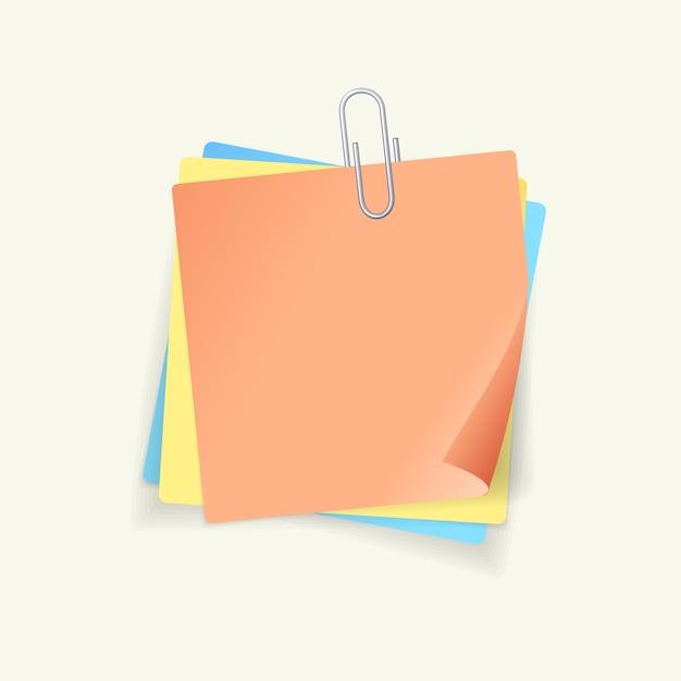 Kolorowe Naklejki Papier I Stalowy Klips Na Białym Tle Premium Wektorów