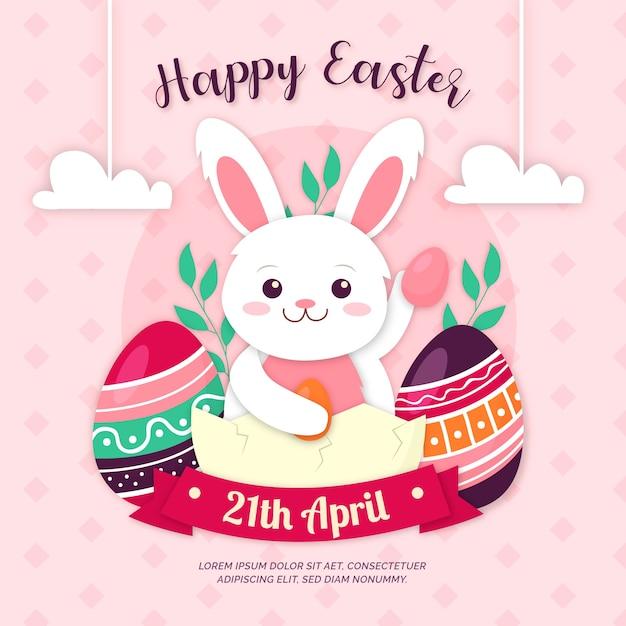 Kolorowe Obchody Wielkanocy Szczęśliwy W Stylu Papieru Darmowych Wektorów