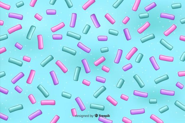 Kolorowe Pączki Glazury Z Posypką Mikstury Na Jasnoniebieskim Tle Darmowych Wektorów