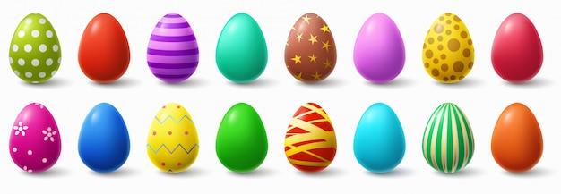 Kolorowe Pisanki. Wakacyjny Kurczaka Jajka Wystrój, Wielkanoc Deseniuje Realistycznego Odosobnionego Ilustracja Set Premium Wektorów